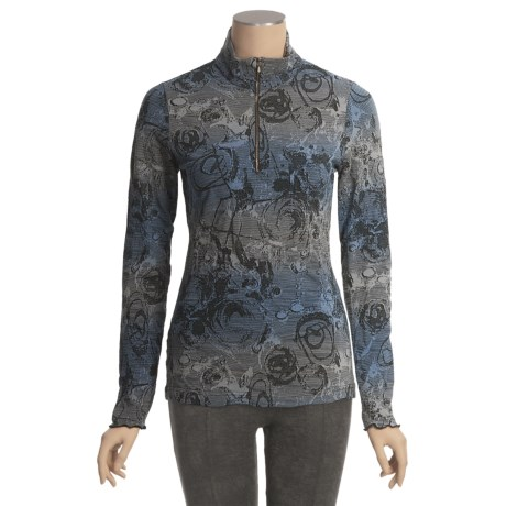 Sno Skins Ombre Jacquard Shirt - Zip Neck, Long Sleeve (For Women)
