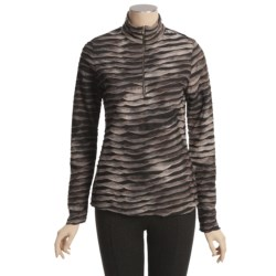 Sno Skins Pleated Stripes Shirt - Zip Neck, Long Sleeve (For Women)