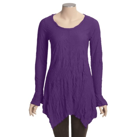 Sno Skins Crinkle Pointelle Tunic Shirt - Ballet Neck, Pointed Hem (For Women)