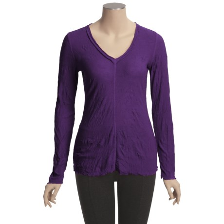 Sno Skins Crinkle Pointelle V-Neck Shirt - Long Sleeve (For Women)