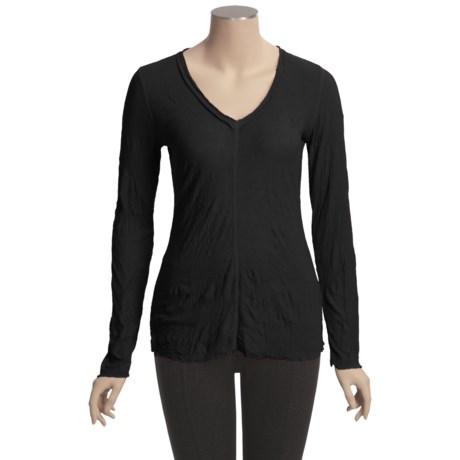 Sno Skins Crinkle Pointelle V-Neck Shirt - Long Sleeve (For Women)