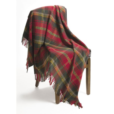 Moon Lambswool Tartan Throw Blanket - 54x72""