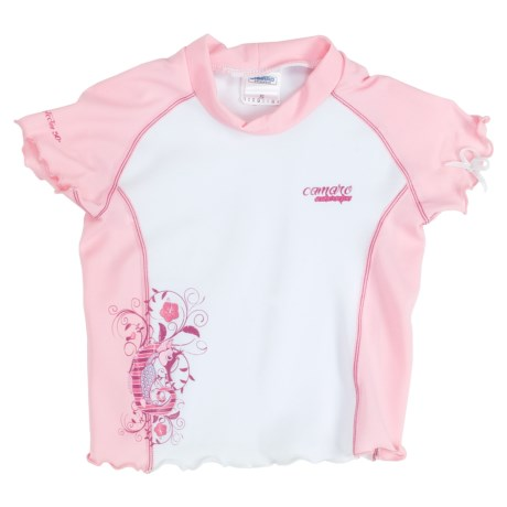 Camaro Rash Guard Top - UPF 50+, Short Sleeve (For Toddler Girls)