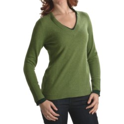 Cullen Cashmere V-Neck Sweater - Contrast Layers (For Women)