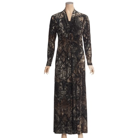 Diamond Tea Burnout Velvet Robe - Adjustable Tie (For Women)