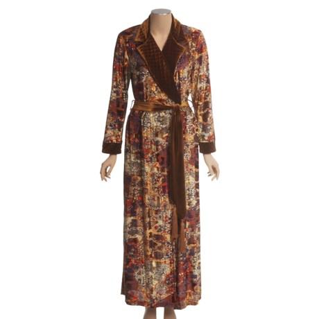 Diamond Tea Burnout Velvet Robe - Quilted Trim (For Women)