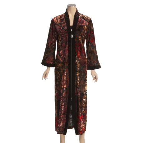 Diamond Tea Burnout Velvet Robe - Quilted Trim (For Women)