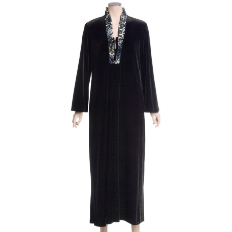 Diamond Tea Velvet Robe - Ruffled Satin Trim (For Women)