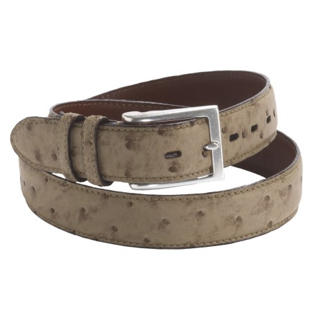 Torino Waxed Vintage Belt - South African Ostrich Leather, 35mm (For Men)