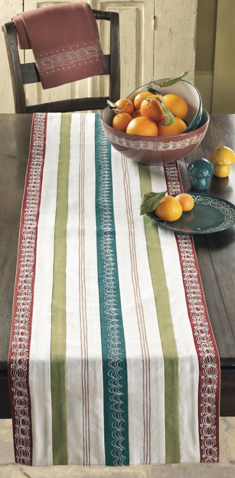 Tag Embroidered Table Runner