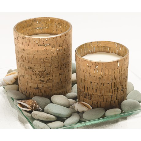 Tag Cork and Glass Votive - Tropical-Surf Scented Candle, Small
