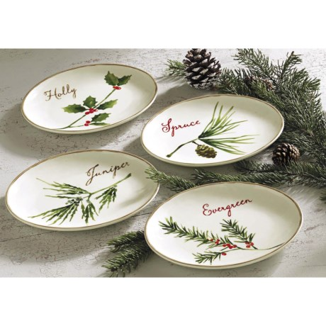 Tag Winter Greens Appetizer Plates - Stoneware, Set of 4