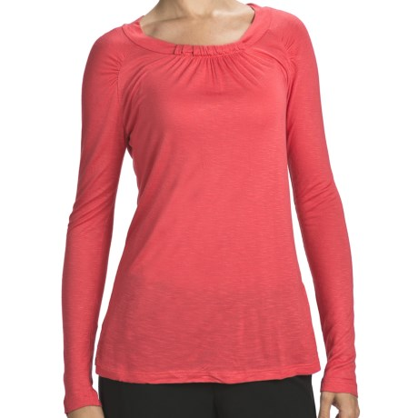 Slub Rayon Jewel Neck Shirt - Long Sleeve (For Women)
