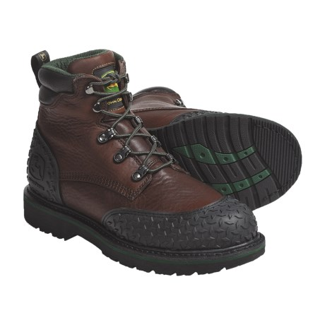 "John Deere Footwear 6"" Lace-Up Work Boots - Leather, Diamond-Plated Rubber Toe Guard (For Men)"