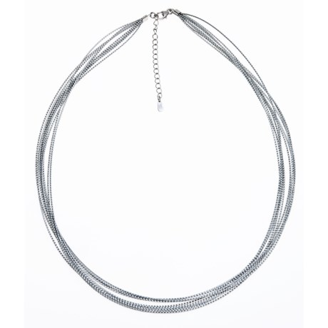 Silver Express Metallic Cord Necklace - 10 Strand