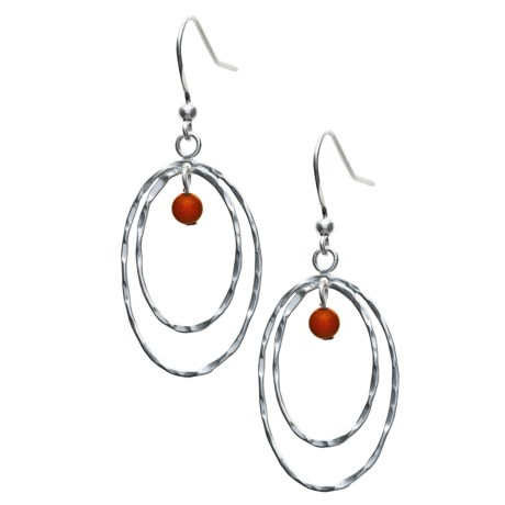 Silver Express Coral Bead Dangle Earrings - Sterling Silver