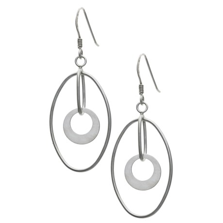 Silver Express Oval Hoop Earrings -  Cut-Out Dangles, Sterling Silver