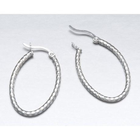 Silver Express Laser Tube Earrings - Oval Hoops