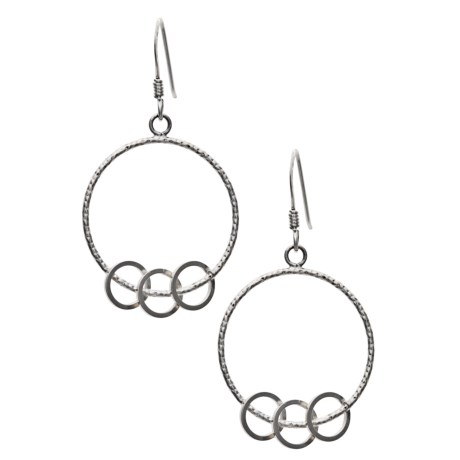 Silver Express Wire Flash Hoop Earrings with Triple Circles - Sterling Silver