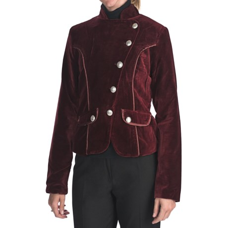 Dimri Velvet Asymmetrical Jacket (For Women)
