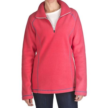 Microfleece Zip Neck Pullover - Long Sleeve (For Women)