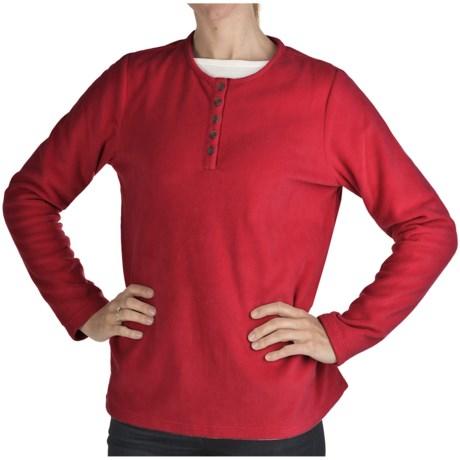 Fleece Henley Shirt - Long Sleeve (For Women)