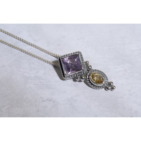 Silver Moon Pendant Necklace - Amethyst, Citrine, Sterling Silver