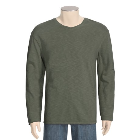 True Grit Slub Jersey T-Shirt - Slub Jersey Cotton, V-Neck, Long Sleeve (For Men)