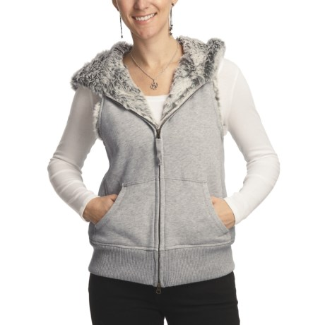 True Grit Vintage Heather Fleece Vest - Faux-Fur Lining (For Women)