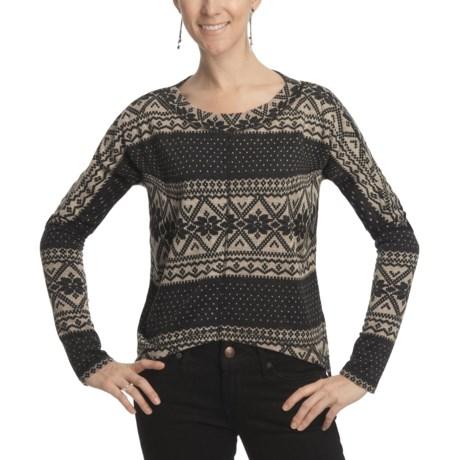 True Grit Vintage Snowflake Crop Sweater (For Women)