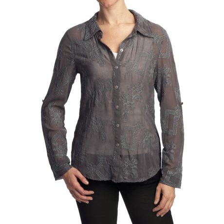 True Grit Vintage Embroidered Shirt - Long Sleeve (For Women)