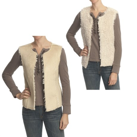 True Grit Faux-Sueded Mohair Vest - Reversible (For Women)