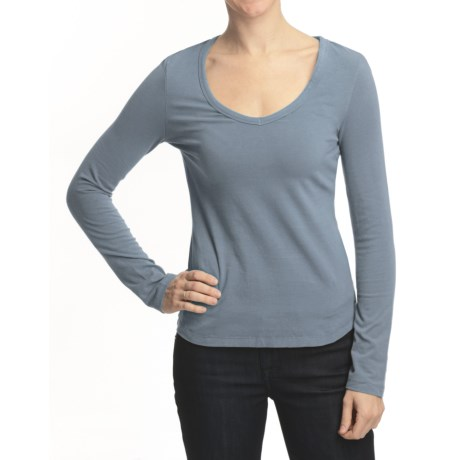 True Grit Sueded Jersey V-Neck Shirt - Long Sleeve (For Women)