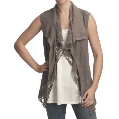True Grit Loose Layers Vest - Slub Cotton Lace, Knit Tie (For Women)