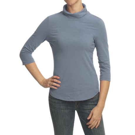 True Grit Sueded Jersey Shirt - Scrunch Turtleneck, 3/4 Sleeve (For Women)