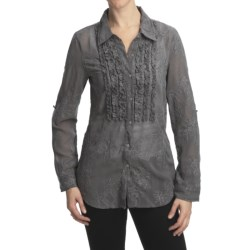 True Grit Vintage Dyed Embroidered Shirt - Ruffle, Long Sleeve (For Women)