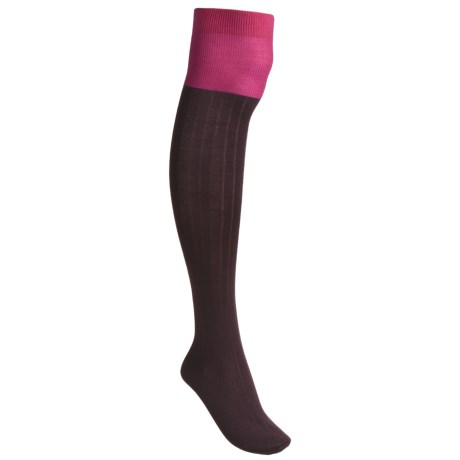 Pantherella Fancy Contrast Knee-High Socks - Merino Wool (For Women)