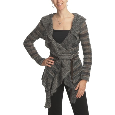 CoVelo Striped Ruffled Cardigan Sweater (For Women)