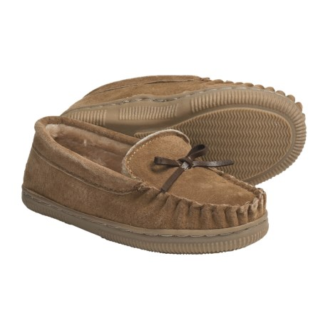 Lamo Moccasin Slippers - Suede, Fleece-Lined (For Kid Boys and Girls)