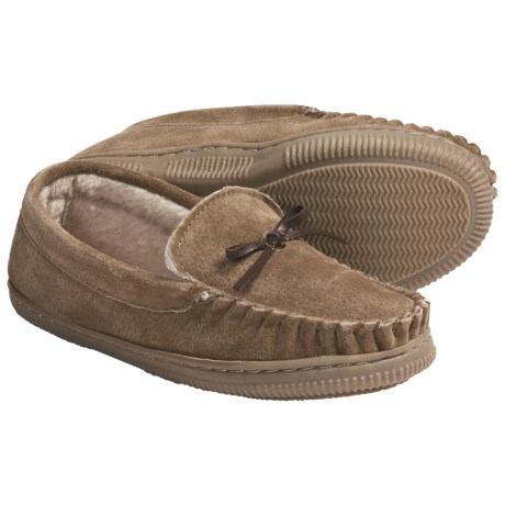 Lamo Moccasin Slippers - Suede, Fleece-Lined (For Youth Boys and Girls)