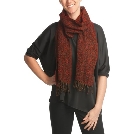 Asian Eye Nell Floral Print Scarf - Textured Wool (For Women)