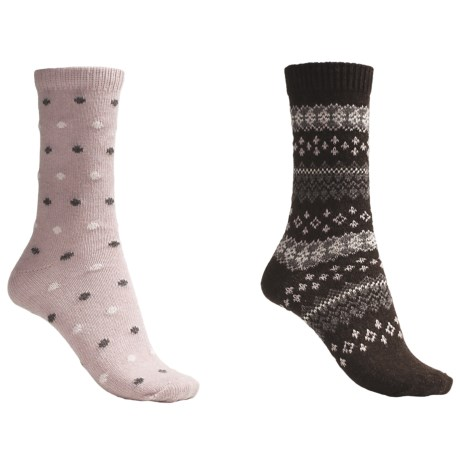 b.ella Dot and Fair Isle Socks - 2-Pack (For Women)