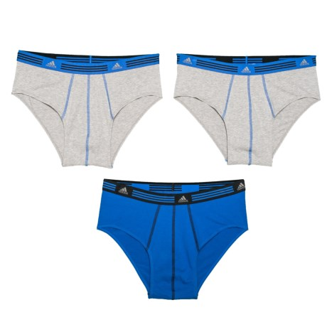 adidas ClimaLite® High-Performance Sport Briefs - 3-Pack, Heather Grey-Bold Blue (For Men)