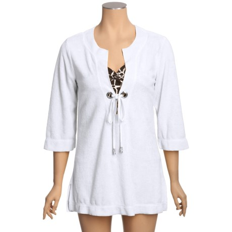 Calispia Cover-Up Tunic Shirt - French Terry Cotton, 3/4 Sleeve (For Women)