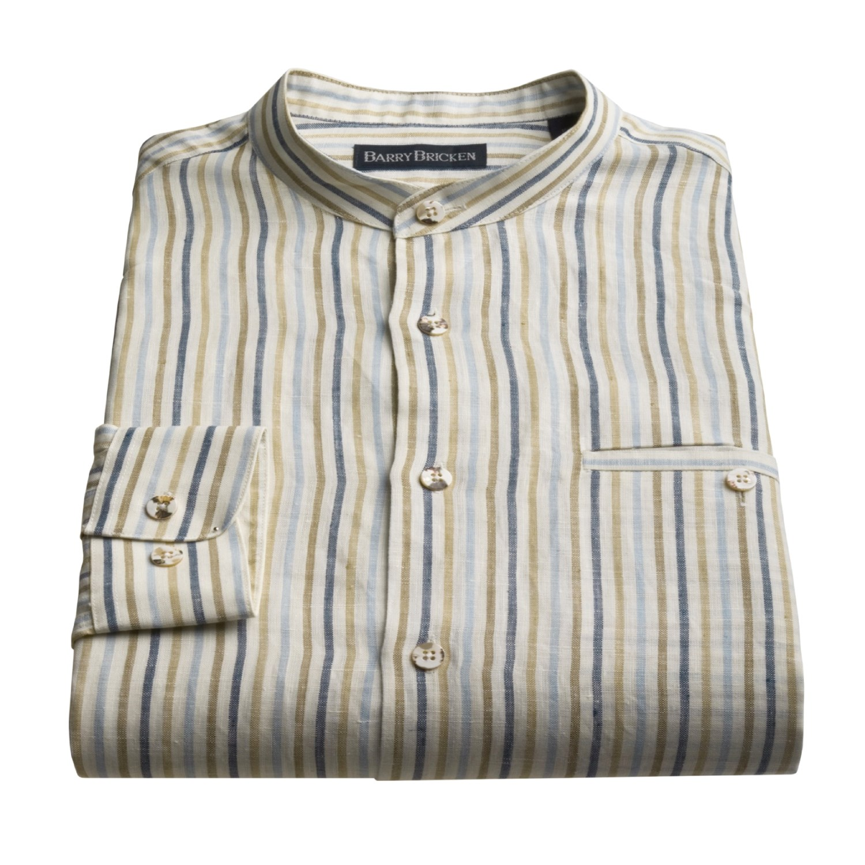 Barry Bricken Banded Collar Shirt For Men 47556 Save 66