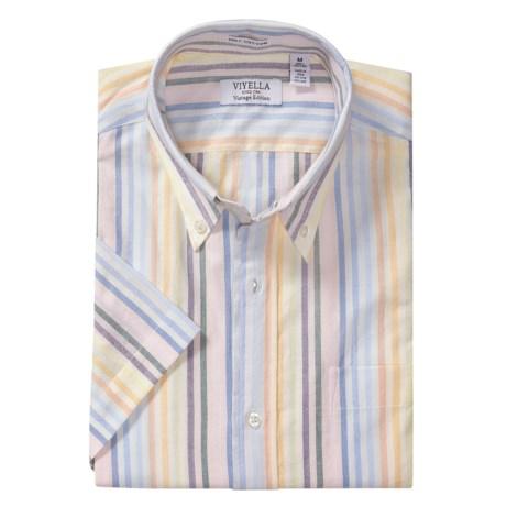 Viyella Vintage Distressed Stripe Shirt - Short Sleeve (For Men)