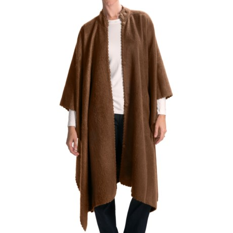 San York Long Alpaca-Blend Cape - Crochet Edging (For Women)