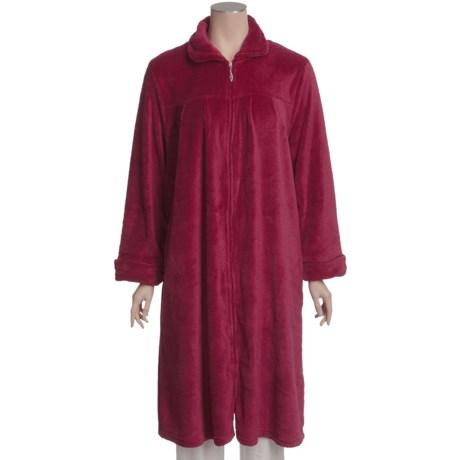 Paddi Murphy Softies Plush Velour Short Zip Robe - Peter Pan Collar (For Plus Size Women)