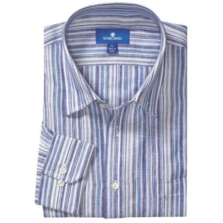 Toscano Linen Stripe Shirt - Long Sleeve (For Men)