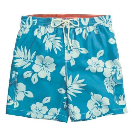 Caribbean Joe Printed Cargo Swim Trunks (For Men)